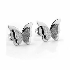 18K Gold Silver Titanium Stainless Steel 3D Butterfly Stud Earrings Gift Box NP