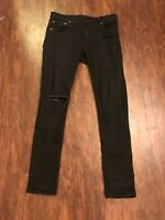 Mens ASOS Black Skinny Fit Ripped Jeans W30, L30 Vintage Aesthetic