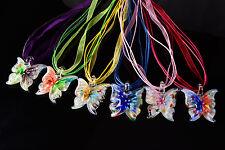 FREE Wholesale Lot 6pcs Butterfly Flower Lampwork Glass Pendants Silk Necklace