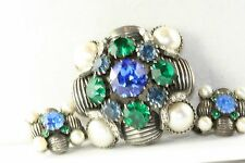 VINTAGE DEMI PARURE VENDOME BLUE GREEN PEARL CRYSTAL GLASS PIN EARRINGS SET
