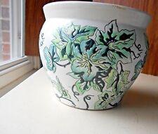 "Jardiniere Vintage Green & White Raised Plant Designs 6.5"" Tall 7.5"" Across Top"