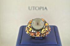 Utopia 18k Rose Gold 0.17 CT Diamond, Tahitian Pearl, & Orange Sapphire