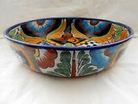 "Talavera Pottery Puebla Mexico Centerpiece Bowl 11"" x 2 7/8"" Deep Xclnt w1s7"