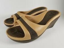 "CROCS Sandal Sassari Women's Size 6 Slides Heels Wedge 3"" Heel Brown/gold"