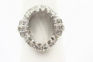 ESTATE 14K SOLID WHITE GOLD 24 AUTHENTIC DIAMOND SEMI-MOUNT FOR LARGE OVAL STONE