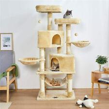 Arbre à chat pour chats 145cm arbre à grimper beige  grattoir avec hamac lit