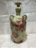Antique Hand Painted ROYAL BONN Germany, Red,And Green Floral Vase,9""