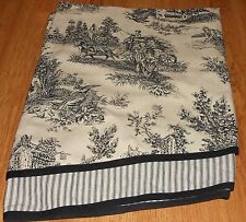 WAVERLY GARDEN ROOM WELLINGTON COUNTRY TOILE DOUBLE LAYER ASCOT VALANCE BLACK