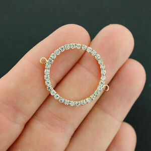 2 Circle Connector Charms Gold Tone Inset Rhinestones - GC1301