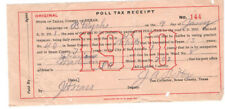 VINTAGE 1910 POLL TAX RECEIPT! SAN ANTONIO, BEXAR COUTY, TEXAS! PAID $1.50!