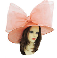 Coral Large Ascot Hat for Weddings, Ascot, Derby in many colors HM3