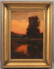 19thC Antique American Tonalist Sunset Lake Rowboat Landscape Oil Painting, NR