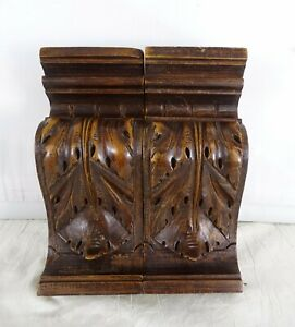 """Antique French Carved Walnut Wood Pair Corbel - Pillars- Brackets Salvage 6.7""""T"""