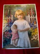 Circa 1930s - Beatrice Tonnesen - Little Girl w/Doll Print - Painted from Photo