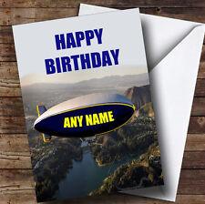 Flying Blimp Funny Personalised Birthday Greetings Card