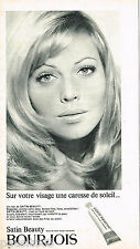 PUBLICITE ADVERTISING 055  1966  BOURJOIS  maquillage poudre  SATIN BEAUTY