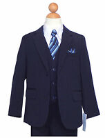 BOYS RECITAL,GRADUATION, PINSTRIPE SUIT, NAVY BLUE/WHITE Size: 2T to 16