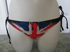 NWT Abbey Dawn By Avril Lavigne British Flag Bikini BOTTOM Only XL Runs Small