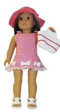 """Pink Striped Dress Hat and Purse 3pc Set  Fits 18"""" American Girl  Dolls"""