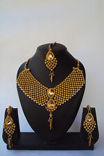 Indian Bollywood Style Rose Gold Jewelry Designer Fashion Bridal Necklace Set