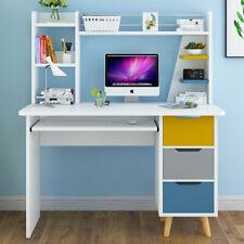 Home Corner Computer Desk 3 Drawers Shelves PC Table Office Study Desktop White
