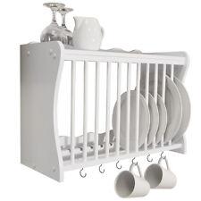 Wall Mounted Kitchen Plate / Storage Rack White WD1890