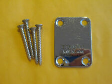 IBANEZ NECK PLATE with SCREWS - from a VINTAGE 1978 PF100 GUITAR in CHROME