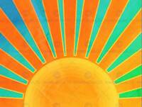 PAINTING ABSTRACT SUNRISE SUN RAYS ORANGE BLUE SPOKES POSTER PRINT BMP11341