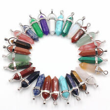 Wholesale  24pcs/lot  Mixed Natural stone Point Chakra Healing Gemstone Pendants