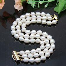 woman's gift 3 rows AAA 10-12MM  white akoya genuine pearl bracelets 7.5-8 INCH