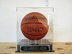 Los Angeles Lakers Basketball Display Case With A Team Engraved Nameplate