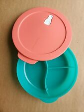 """New Tupperware CrystalWave Divided Dish (#3284) Vented Lid (#7374) Container 10"""""""
