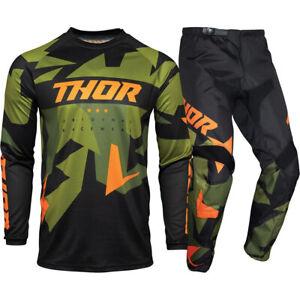 Thor MX 2021 Sector Warship Green/Orange Motocross Gear Set