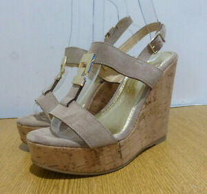 BNIB Russell & Bromley Treat beige suede strappy wedge sandals 36 3 NEW