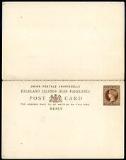 FALKLAND ISLANDS QUEEN VICTORIA 1/2 p, Double Postal Stationery Unused VF