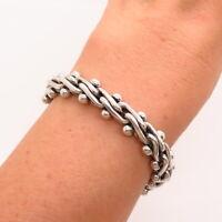 """925 Sterling Silver 2-Tone Thick Modernist Design Link Bracelet 6"""""""