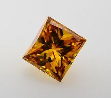0.12ct Fancy Vivid Cognac Loose Diamond Princess Cut Color Enhanced VS clarity