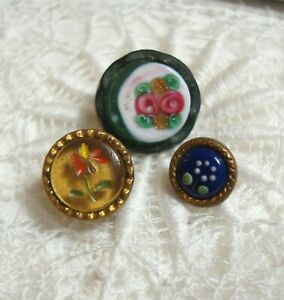 """3 Antique Painted Glass Waistcoat Buttons 3/8"""" to 1/2"""""""
