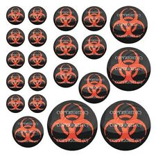 21 Premium Domed Round 3M Decal Sticker Set - BIOHAZARD RED - 044