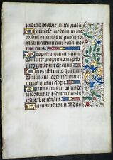 Illuminated mediev.BoH lf.10 gold heightened initials&2 floral borders,c.1475#N1