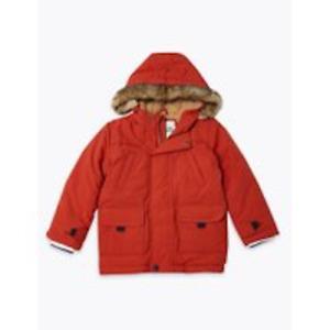 M&S Marks Spencer Baby Boys Twill Parka Hooded Jacket/Coat Orange BNWT