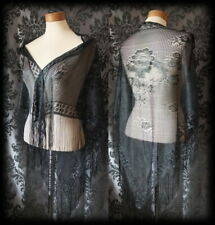 Goth Stunning Delicate Black Lace Rose VICTORIAN STEAMPUNK Cape / Shrug / Shawl