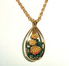 Goebel Olszewski Miniature Chrysanthenum Pendant Necklace New In Box
