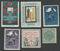 Italy 1917-28 collection of Books & Magazines Exhibitons poster stamps (6)