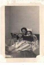 College Girls Lying In Bed Reading Book & Movies Magazine Vintage 1940s Photo