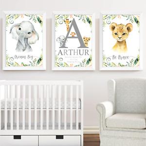 Personalised Safari Jungle Animals Baby Nursery Print Set Wall Art Kids Bedroom