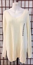 Tommy Hilfiger Plus Size Knit Sweater White V-Neck Style Authentic Fall Wear