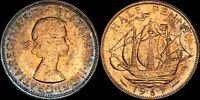 1967 GREAT BRITAIN HALF PENNY ELIZABETH II COLOR TONED COIN IN HIGH GRADE