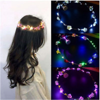 Beauty Glowing Crown Flower Headband Girls LED Lights Up Wreath Party Hairband