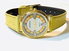 Vintage Geneva Gold Tone Slim Quartz Wrist Watch Very Elegant (20526M)